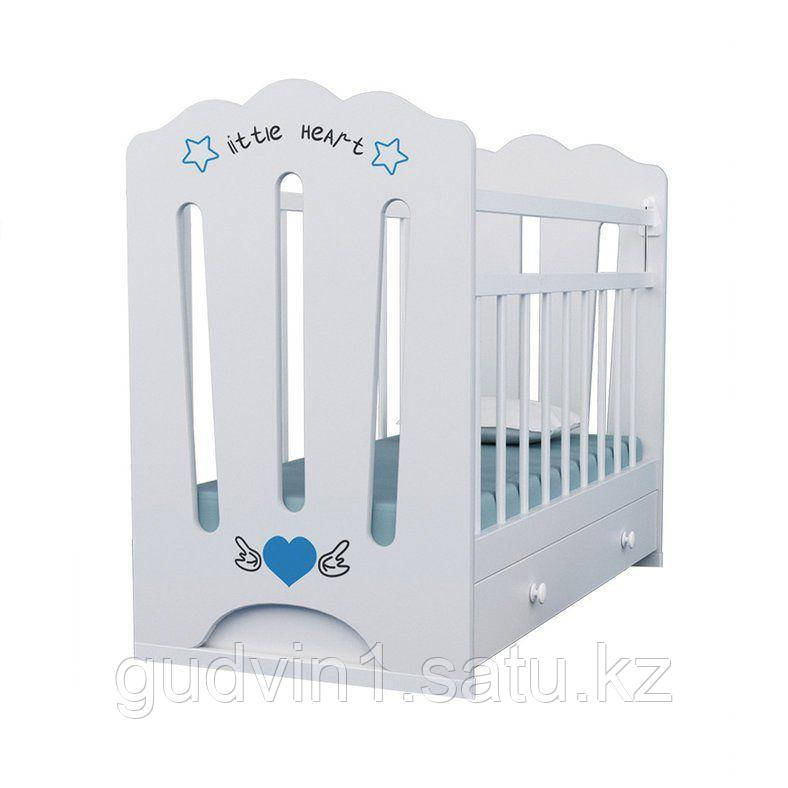 Детская кроватка ВДК Little Heart с маятником с ящиком белый,сл.кость