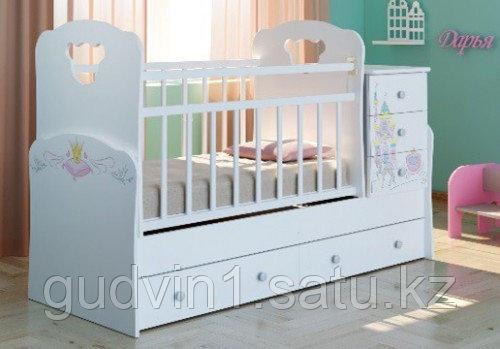 Детская кровать-трансформер Infanzia, с рисунком,белый