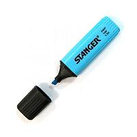Маркер текстовой, 1-5мм, скошенный наконечник, голубой Stanger