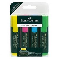 Маркер текстовой, 1-5мм, скошенный наконечник, набор 4 цвета Faber-Castell