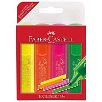 Маркер текстовой, 1-5мм, неоновые , скошенный наконечник, набор 4 цвета Faber-Castell