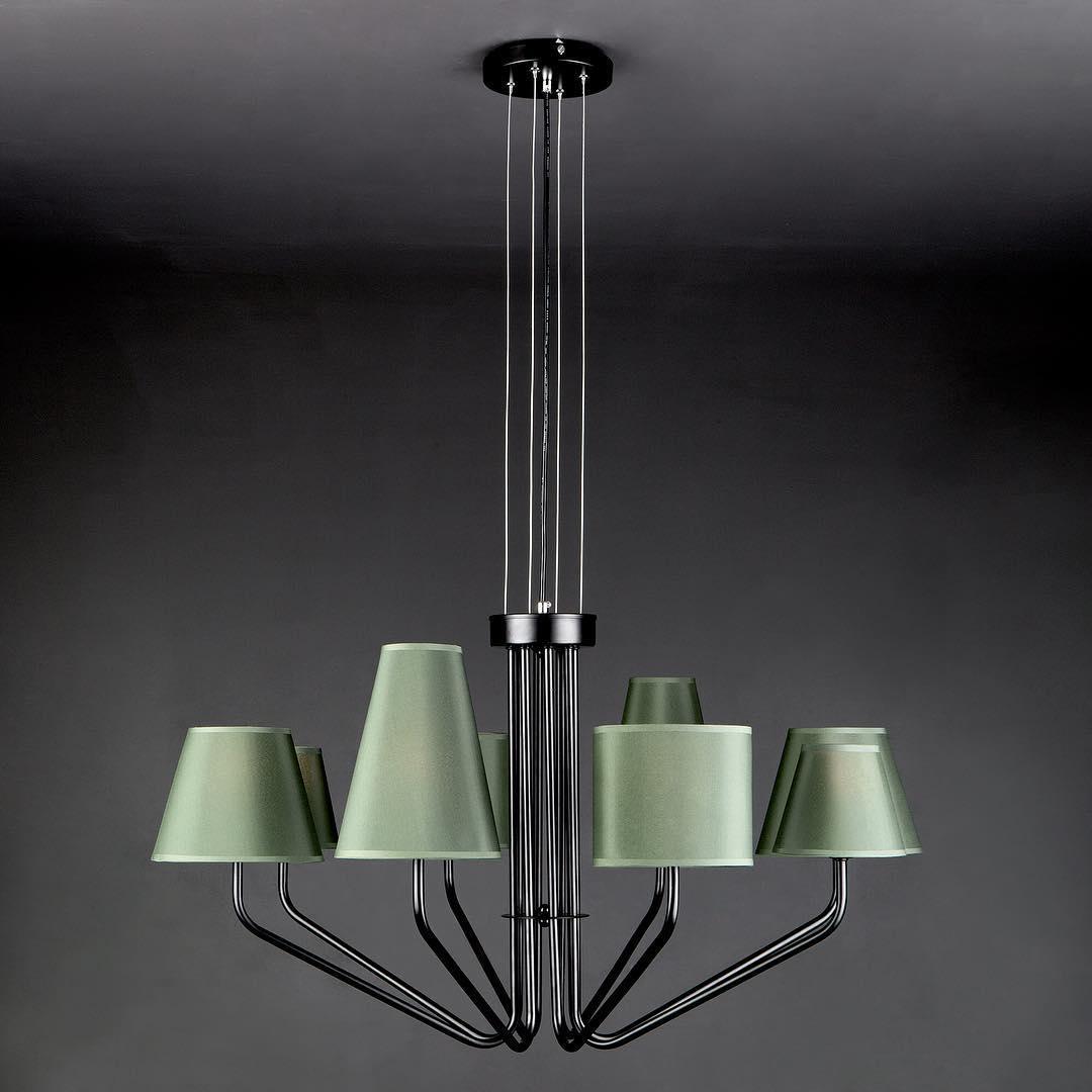 Люстра в стиле Лофт на 8 ламп зеленая с абажурами