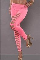 Ярко розовые неоновые леггинсы с разрезами