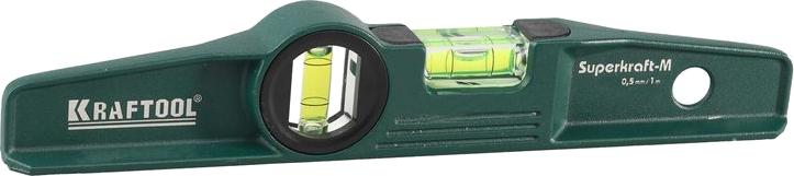 "Уровень  KRAFTOOL ""SUPERKRAFT-M"" литой, 2 ампулы, 0,5 мм/м, 225 мм"