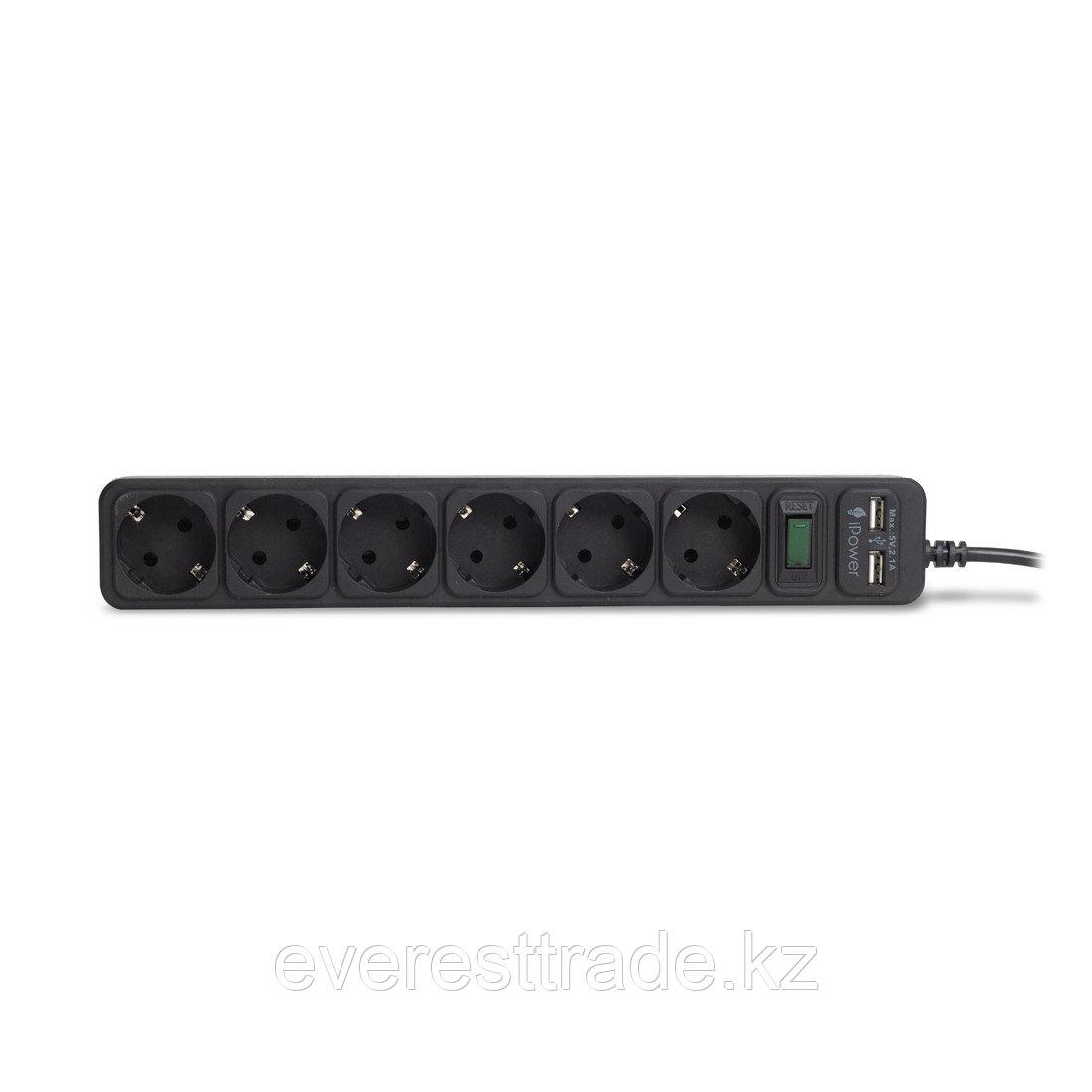 Сетевой фильтр, iPower, iPEO3m-USB, 6 розеток, 3 метра. Два USB-порта, 220-240V, 10A, Чёрный