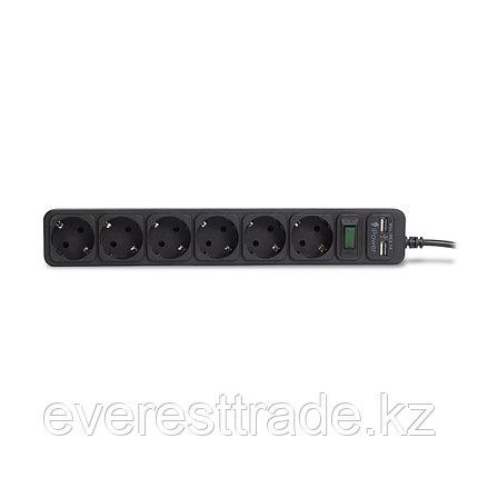 Сетевой фильтр, iPower, iPEO3m-USB, 6 розеток, 3 метра. Два USB-порта, 220-240V, 10A, Чёрный, фото 2