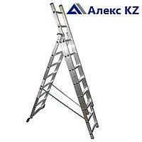 Лестница алюминиевая AL 308, 3 -х секционная, универсальная, фото 1