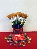Кисть косметическая (Веер), зеленая ручка, фото 1