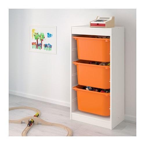 стеллаж для игрушек ТРУФАСТ белый/оранжевый ИКЕА, IKEA - фото 2