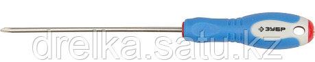 Отвертка ЗУБР, Cr-V сталь, трехкомпонентная рукоятка, цветовая индикация типа шлица, PH №0, 100мм, фото 2