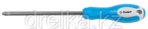 Отвертка ЗУБР, Cr-V сталь, трехкомпонентная рукоятка, цветовая индикация типа шлица, PZ №3, 150мм, фото 2