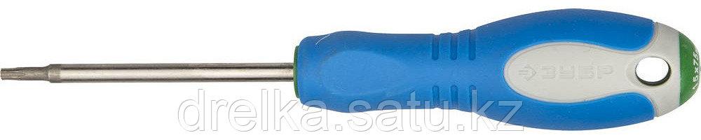 Отвертка ЗУБР, Cr-V сталь, трехкомпонентная рукоятка, цветовая индикация типа шлица, TORX №15, 75мм