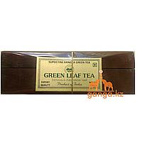 Индийский подарочный Зеленый чай в деревянной шкатулке (Super Fine Kangra Green Tea), 100 г.