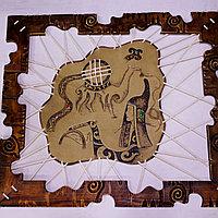 Картина ручной работы из кожи и дерева, фото 1