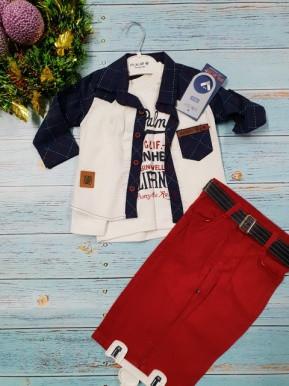 Костюм тройка с красными джинсами