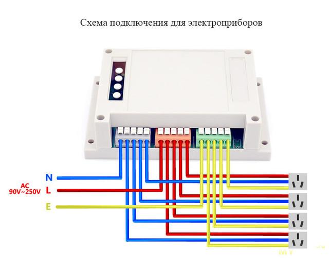 Схема подключения электро розеток с заземлением через коммутатор SONOFF 4CH R2