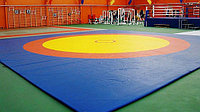 Борцовский ковер трехцветный 12 х 12 м с покрышкой, толщина 5 см НПЭ, фото 1