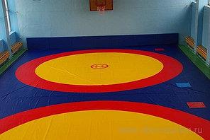 Борцовский ковер трехцветный 8х8м с покрышкой, толщина 5 см