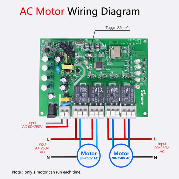 Схема подключения двигателя переменного тока к 4-канальному беспроводному WIFI коммутаторуSONOFF4CH Pro