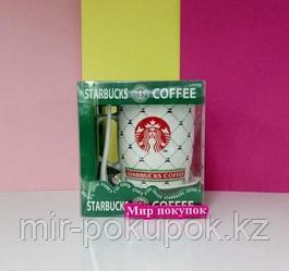 Кружка керамическая Starbucks (старбакс) с блюдцем и ложкой (белый), Алматы