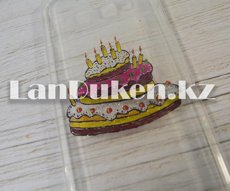 Чехол на Samsung J4 Plus (Samsung Galaxy J4 Plus) силиконовый прозрачный принт торта - фото 2