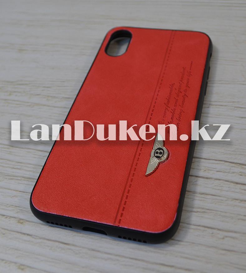 Чехол на iPhone X (Apple iPhone X) кожзам красный принт бентли - фото 2