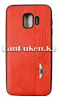 Чехол на Samsung J2 Core (Samsung Galaxy J2 Core) кожзам красный принт бентли