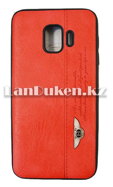 Чехол на Samsung J2 Core (Samsung Galaxy J2 Core) кожзам красный принт бентли - фото 1