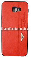 Чехол на Samsung J4 Plus (Samsung Galaxy J4 Plus) кожзам красный принт бентли