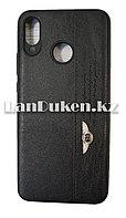 Чехол на Huawei Nova 3 (Хуавей Нова 3) кожзам черный принт бентли