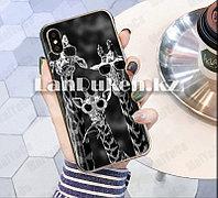 Чехол на iPhone XR (Apple iPhone XR) матовый черный принт жирафов