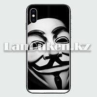 Чехол на iPhone XR (Apple iPhone XR) матовый черный принт вендетта