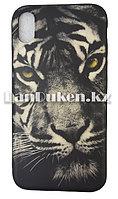 Чехол на iPhone XR (Apple iPhone XR) матовый черный принт тигра