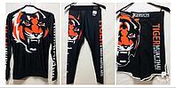 Рашгард Tiger Muay Thai 3 в 1 ( комплект верх + низ + шорты ) чёрный,белый