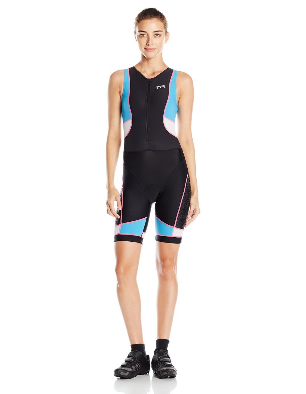 Слитный стартовый костюм без рукавов с молнией спереди TYR Competitor Front Zip Tri Suit W/ Pad