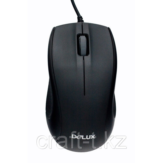Мышь Delux DLM-375OTB, 3D, Оптическая 800dpi, USB+PS/2, Чёрный