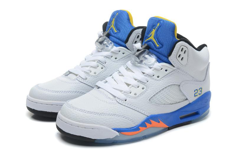баскетбольные кроссовки Nike Air Jordan 5 Retro бело-синие Акула
