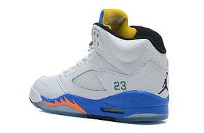 баскетбольные кроссовки Nike Air Jordan 5 Retro бело-синие Акула, фото 2