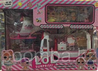Кукла лол с машиной и вертолетом (Реплика)