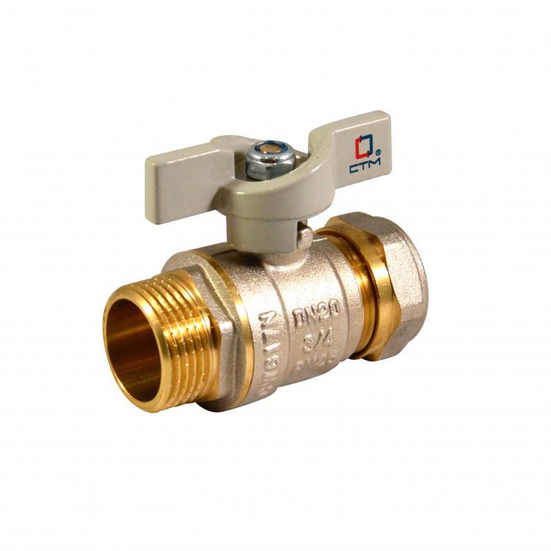 Кран Фитинг для металлопластиковых труб КТМ - 25 *1 труба/наружный