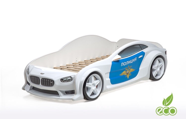 """Кровать-машинка объемная (3d) EVO """"БМВ"""" Полиция"""