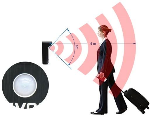 Датчик движения, способный автоматизировать работу видеодомофона, имеет угол обзора по вертикали 90° и чувствительность до четырех метров