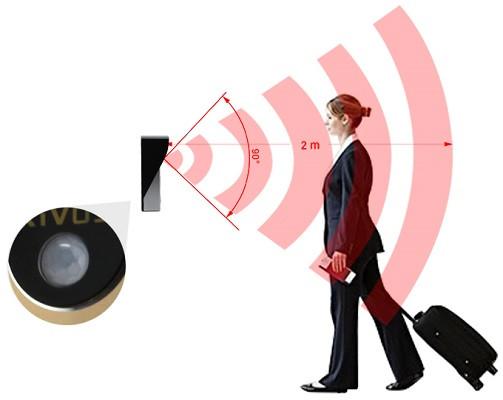 Датчик движения, способный автоматизировать работу видеодомофона, имеет угол обзора по вертикали 90° и чувствительность до двух метров