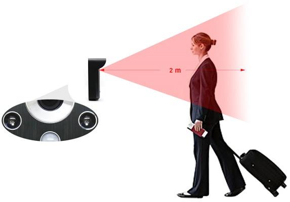 ИК подсветка эффективно действует на расстоянии до двух метров, как и датчик движения