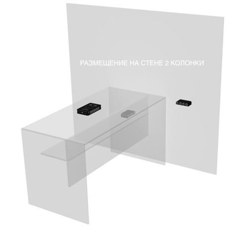 На рисунке показан пример оптимального размещения подавителя и двух внешних УЗ-колонок при их совместном использовании