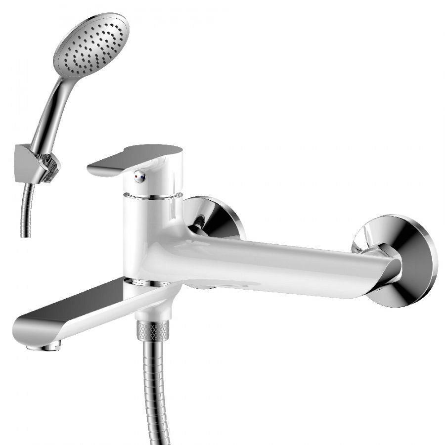 Смеситель одноручный 35мм для ванны c плоским излив 170мм, див.с кер.плас. хром/бел. Rossinka W35-33