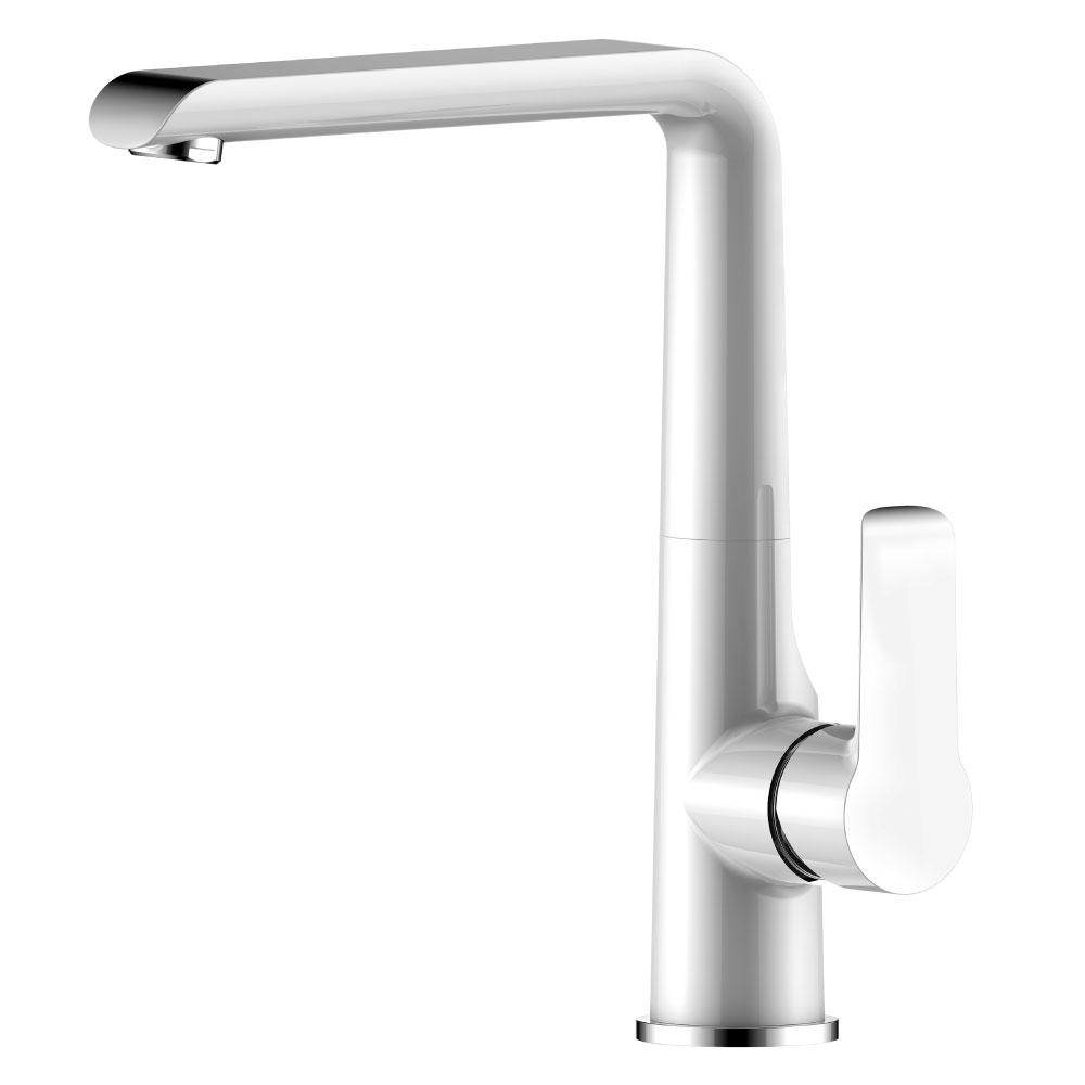 Смеситель одноручный (35мм) для кухни c поворотным излив 176мм, хром/бел. Rossinka W35-21