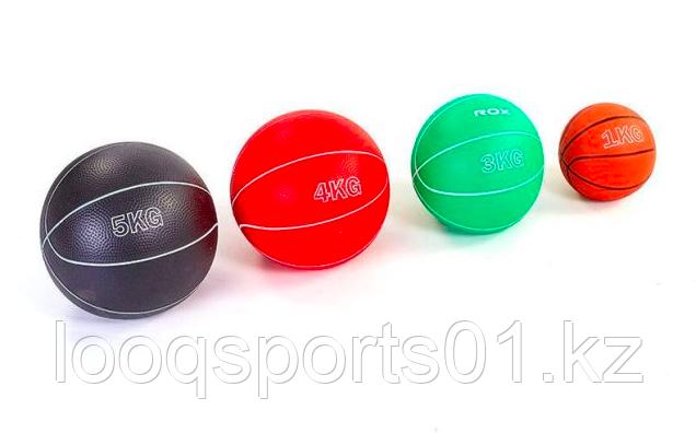 Мяч медицинский (медбол) резиновый 5 кг, наполнитель песок