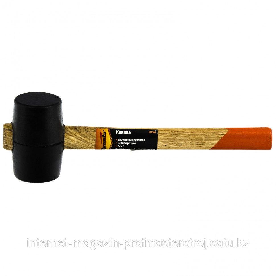 Киянка резиновая, 225 г, черная резина, деревянная рукоятка, SPARTA