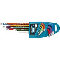 Набор ключей имбусовых HEX, 1,5–10 мм, S2, 9 шт., магнит, экстра-длинные с шаром, шром/краска, GROSS